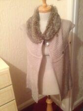 Zara Beige Cream 20% Wool Fur Collar Sleeveless Gilet Waistcoat Jumper Jacket S