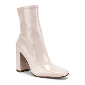 Steve Madden Women Block Heel Ankle Boots Fulton Bone Faux Patent Leather