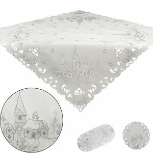 Doilies Tablecloths Tablerunners White Winter Landscape Embroidered Christmas
