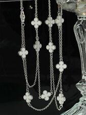Collier Long Sautoir Argenté Chaine Lucky Fleur Blanc 120cm QD4