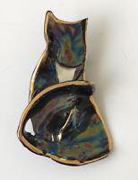 Vintage Handmade Porcelain Cat brooch
