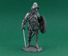 Tin toy soldier Spanish conquistador. Metall sculpture 54 mm