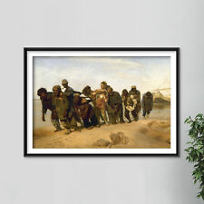 More details for ilya repin - barge haulers on the volga (1870) photo poster painting art print