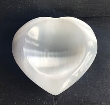 Selenite Crystal Heart Bowl 351g 10cm Cleansing Healing Angelic Crown Pure Lunar