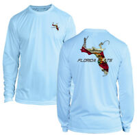 Long Sleeve Microfiber UPF UV Florida Flats Fishing Shirt - Arctic Blue