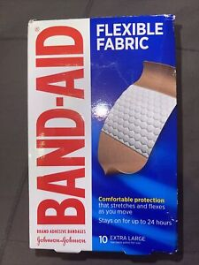 (2) Band-Aid Adhesive Bandages Tough Strips XL Durable 10 Sterile In Damage Box