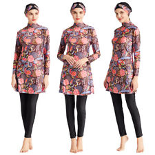 3PC Islamic Arab Mulsim Women Print Swimwear Full Cover Burkini Bathing Swimsuit