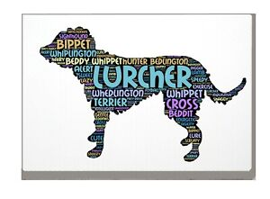 Lurcher Dog Art Print Word Art A4 A3 Mothers Day Gift Personalised Option