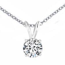 1.05 ct Round Cut 14K White Gold diamond pendant Necklace H VS2 CERTIFIED