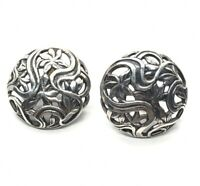 Vintage Sterling Silver Earrings 925 Jewelart Signed Screw Back Filigree Flower