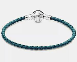 PANDORA Turquoise Braided Leather Seashell Clasp Bracelet #598951C01 18cm