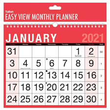 2021 A4 Easy Month To View Spiral Bound Wall Planner Calendar