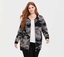 Torrid Womens Metallic Lurex Gray Camo Camouflage Jacket Coat Plus Sz 1 14 / 16
