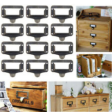 12 PCS Office Library File Drawer Tag Frame Label Holder Pull Handle Bronze Tone