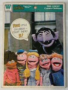 Whitman Sesame Street The Count Counts Children Frame-Tray Puzzle #4517B 1977