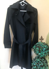 $198 Womens Ann Taylor Trench Long Coat Black Size S