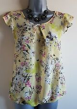 Size 8 Top Yellow Pink White Birds Butterflies Excellent Condition Women's