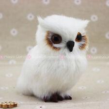 White Furry Owl Ornament Home Decoration Adornment Christmas Décor H3.5''