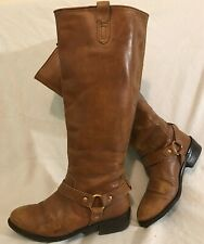 Ladies Brown Knee High Leather Boots Size 38 (150Q)