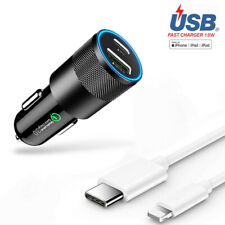 18W PD Type C For iPhone 11 Pro Max QC 3.0 Fast Car Charger Adapter USB-C Cable