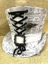 Steampunk Cream/Black Old Mechanical Instruments Top Hat With Skull Tie pin 61cm