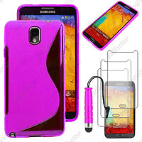 Housse Etui Coque Silicone Violet Samsung Galaxy Note 3+ Mini Stylet + 3 Films