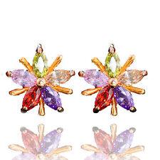 Luxury Colourful Flower Zircon Stone Hoops Earrings Women Ear Decoration E1189