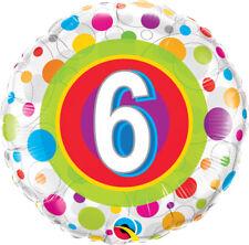 "6th BIRTHDAY PARTY SUPPLIES 18"" AGE 6 COLOURFUL DOTS QUALATEX FOIL BALLOON"