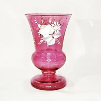 """Vintage Bohemian Ruby Glass Hand Painted Vase 22k Gold Trim White Roses 6"""""""