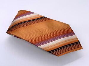Arrow Tie Orange Black White Striped Silk 60 x 3.75 USA 1900 Ties 4 Sale