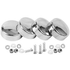 4Pcs Silver License Plate Frame Covers Screw Bolt Security Caps Car Truck DIY