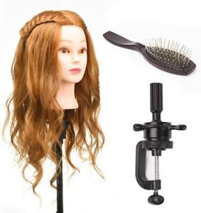 "22"" 80% Real Human Hair Hairdressing Dummy Training Salon Head + Clamp + Comb"