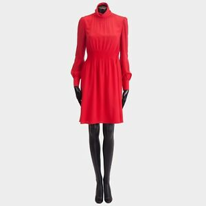 VALENTINO 2700$ New SS18 Silk Red Longsleeve Roll Neck Dress