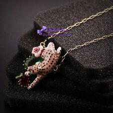 Collier Pendantif Panthere Leopard Email Marron Feuille Vert Fleur Artisannal L7
