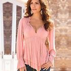 grande taille pour femmes épaule découverte lacets UP col plissé T-shirt haut