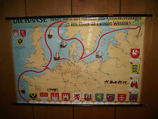 die hanse hamburg alt 13-16 jhdt. - landkarte schulwandkarte wandkarte rollkarte