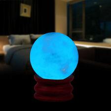35MM Blue Luminous Glow In Dark Stone Quartz Crystal Sphere Ball w/ Base Stand