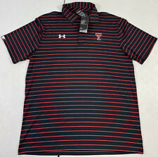 Under Armour Texas Tech Red Raiders Striped Golf Polo Shirt Men's Size Large