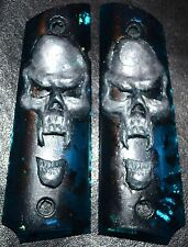 Rock Island 1911 full size pistol grips pearl skull on green with gold leaf
