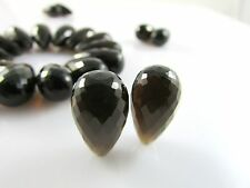 AAA Hydro Smoky Quartz Micro Faceted Top Drilled Teardrop Beads 18x10mm 2 Pcs