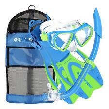 U.S. Divers Kids Dorado Mask, Proflex Fins, & Sea Breeze Snorkel Set, Fun Blue