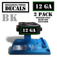 "12 GA Reloading Press Decals Ammo Labels 1.95"" x .87"" Sticker 2 Pack BLK/GRN"