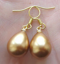Yellow Golden Shell Pearl Drop 18KGP Hook Earrings