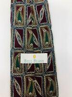 BILL BLASS 100% Silk Paisley Print Men's Neck Tie - Dark Red/Green