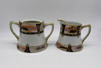 Antique Hand Painted Sugar Bowl And Creamer Set Made In Japan Missing Lid