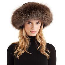 Womans Winter Brown Premium Fox Fur SKI Helmet Shawl SCARF Ear Warmer HEADBAND