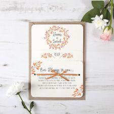 Autumn Orange Rustic Wedding Invitation & Satin Ribbon - Any Colour Sample