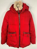 GIRLS ZARA RED DOUBLE ZIP PADDED WINTER HOOD JACKET RAINCOAT KIDS AGE 13/14 YEAR