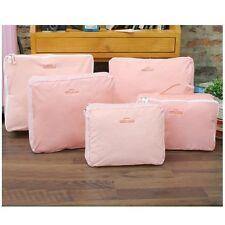 Portable Home 5pcs Travel Polyester Bag Trips Organiser Pink Storage Bag Luggage