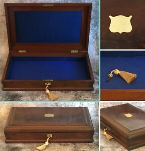 Antique Silversmith Wooden Box Collector Display Case Lock Key Felt Top Tray